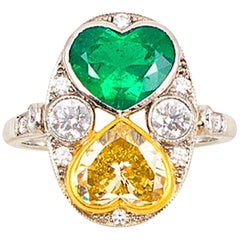 1.75 Carat Fancy Yellow Diamond and Emerald Hearts Platinum Ring