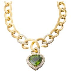 Henry Dunay Peridot Pave Diamond Gold Necklace