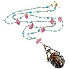 Turquoise Austro Hungarian Chatelaine Cloisonné Scent Bottle Necklace