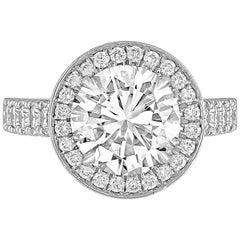 GIA Certified 3.01 Carats I VS1 Diamond Platinum Ring