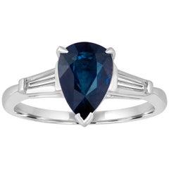 Certified 2.01 Carat Pear Blue Sapphire Diamond Platinum Ring