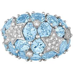 15.00 Carats Blue Topaz And Diamond Gold Dome Ring