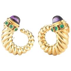 David Yurman Amethyst Emerald Gold Earrings