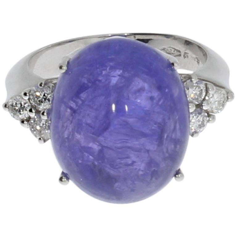 Goldener Ring mit Tansanit und Diamanten, 1980er Jahre