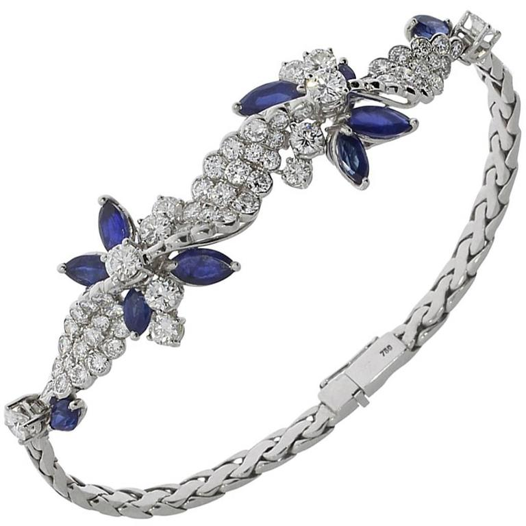 1980s Sapphire Diamond Gold Bracelet