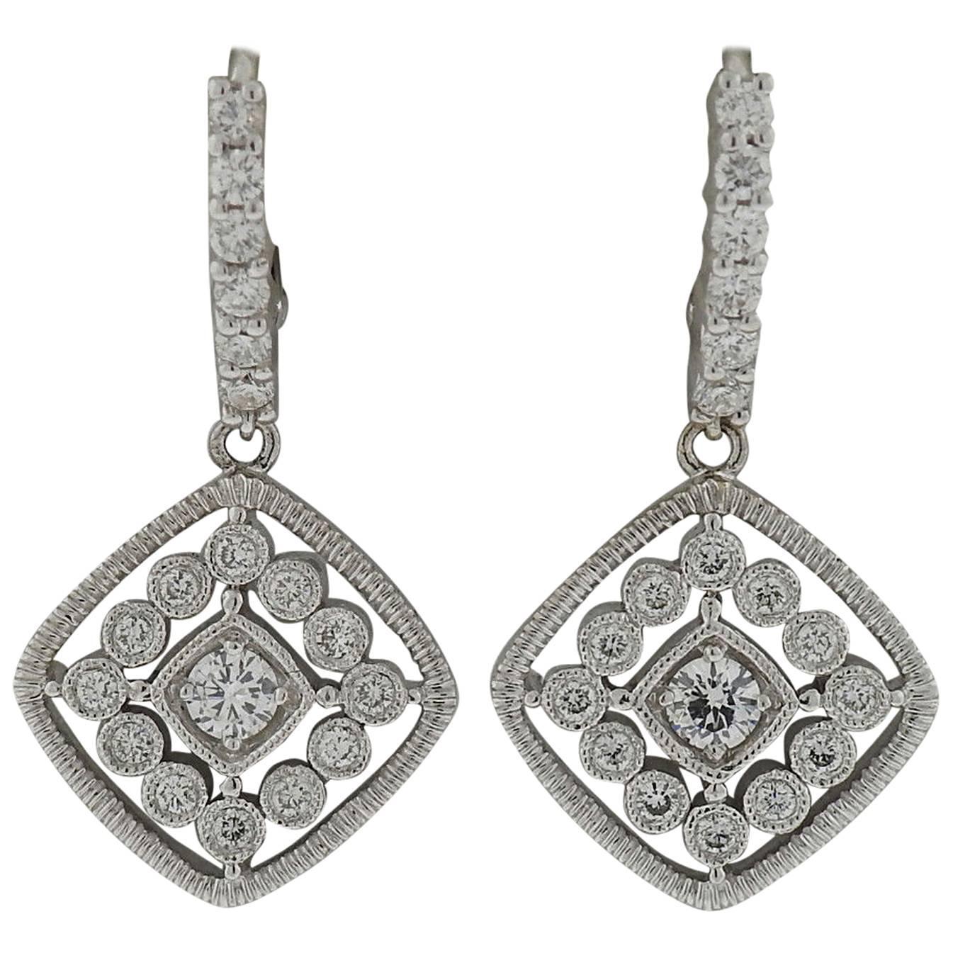 Leslie greene diamond gold dangle earrings at 1stdibs for Leslie greene jewelry designer