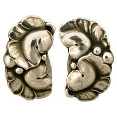 Georg Jensen Sterling Silver Leaf Earrings No. 50A