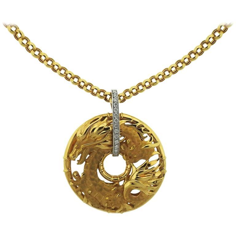 Large carrera y carrera diamond gold dragon pendant necklace at 1stdibs large carrera y carrera diamond gold dragon pendant necklace for sale aloadofball Choice Image