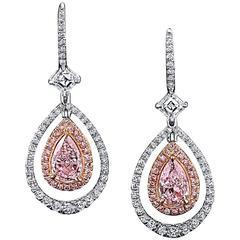 Natural Light Pink Pear Shape Diamond Gold Earrings