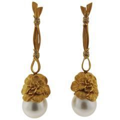 Carrera Y Carrera South Sea Pearl Diamond Gold Flower Earrings