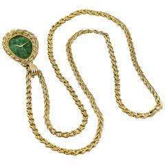 Piaget Van Cleef & Arpels Yellow Gold Nephrite Necklace Watch