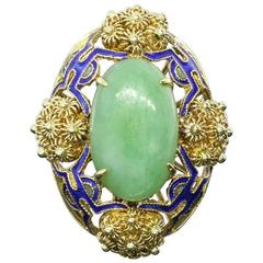 Beautiful Blue Enamel Jade Gold Flower Ring