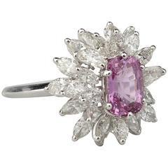 Sterlé Paris Pink Sapphire Diamond Platinum Ring