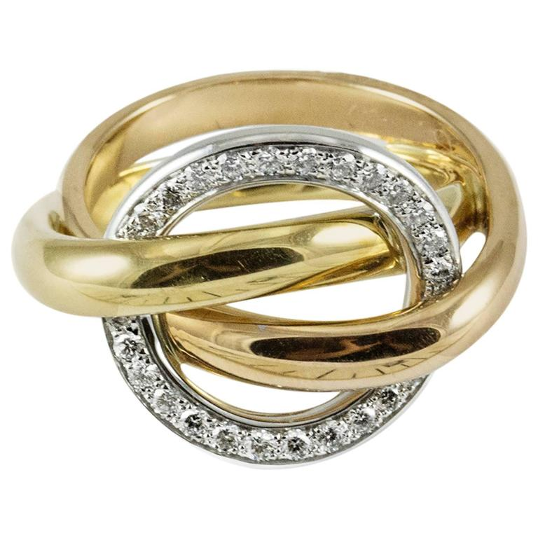 Cartier Diamond Three Color Gold Crush Ring at 1stdibs
