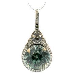 Edwardian Zircon Diamond Gold Pendant