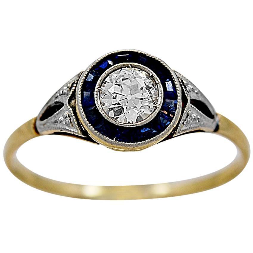 antique 35 carat sapphire gold platinum