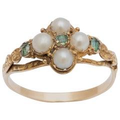 Emerald Pearl Gold Locket Ring