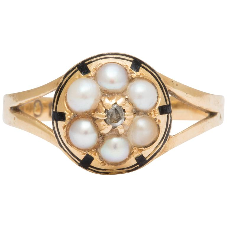 Victorian Pearl Diamond Gold Cluster Ring