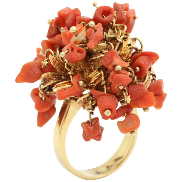 1960s Moveable Coral Gold Sea Urchin Ring 1