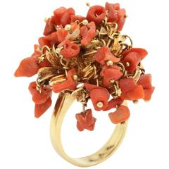 1960s Moveable Coral Gold Sea Urchin Ring