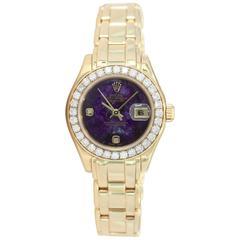 "Rolex Ladies Yellow Gold ""Sugilite"" Purple Stone Diamond Automatic Wristwatch"