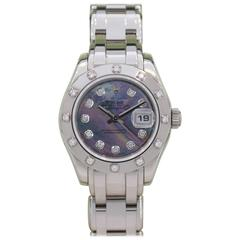 Rolex Ladies White Gold Diamond Black Mother-of-Pearl Pearlmaster Wristwatch
