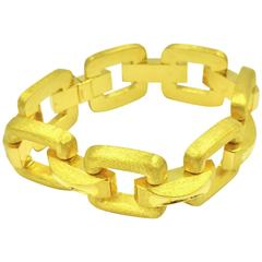 Hammerman Brothers Stunning Mirror and Matte Finish Gold Box Bracelet