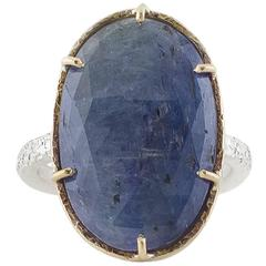 Large Rose Cut Sapphire Sterling Silver Gold Ring