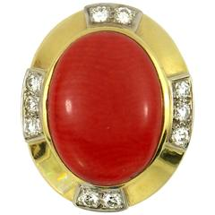 R. Stone Coral Diamond Gold Ring