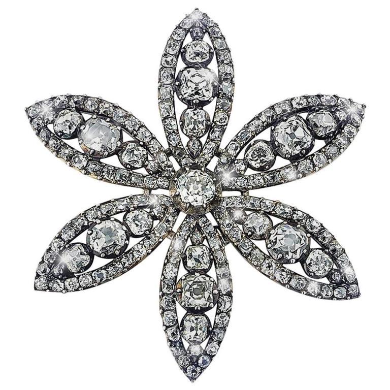 18th Century Diamond Flower Brooch 1