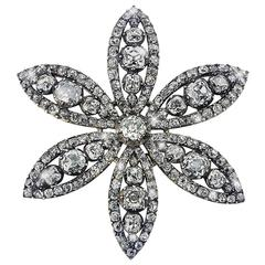 18th Century Diamond Flower Brooch