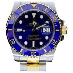 Rolex Yellow Gold Stainless Steel Blue Dial Submariner Wristwatch Ref 116613