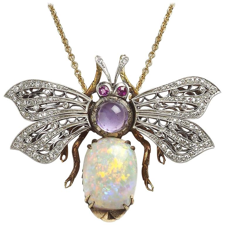 Opal Amethyst Ruby Diamond Gold Bee Pendant For Sale at 1stdibs