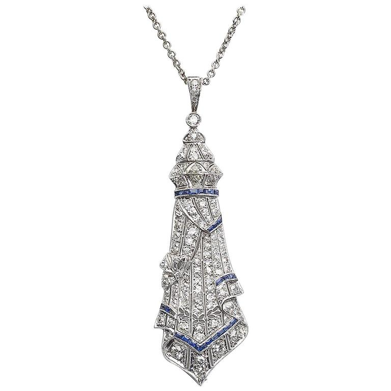 Art Deco Sapphire Diamond Platinum Pendant and Later Gold Chain