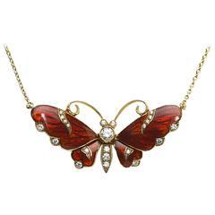 Red Enamel Diamond Gold Butterfly Pendant