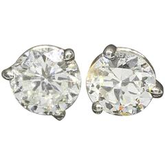 1.20 Carats Old European Cut Diamonds Gold Stud Earrings