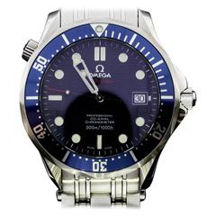 Omega Stainless Steel Seamaster Diver Co-Axial Blue Dial Wristwatch