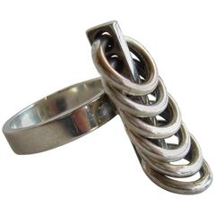 Hans Hansen Sterling Silver Scandinavian Kinetic Ring