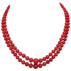 1860 Natural Undyed Mediterranean Coral Necklace