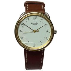 Hermes Yellow Gold Stainless Steel Arceau Quartz Wristwatch