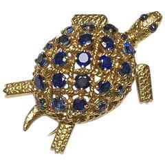1960s Cartier Sapphire Gold Turtle Brooch