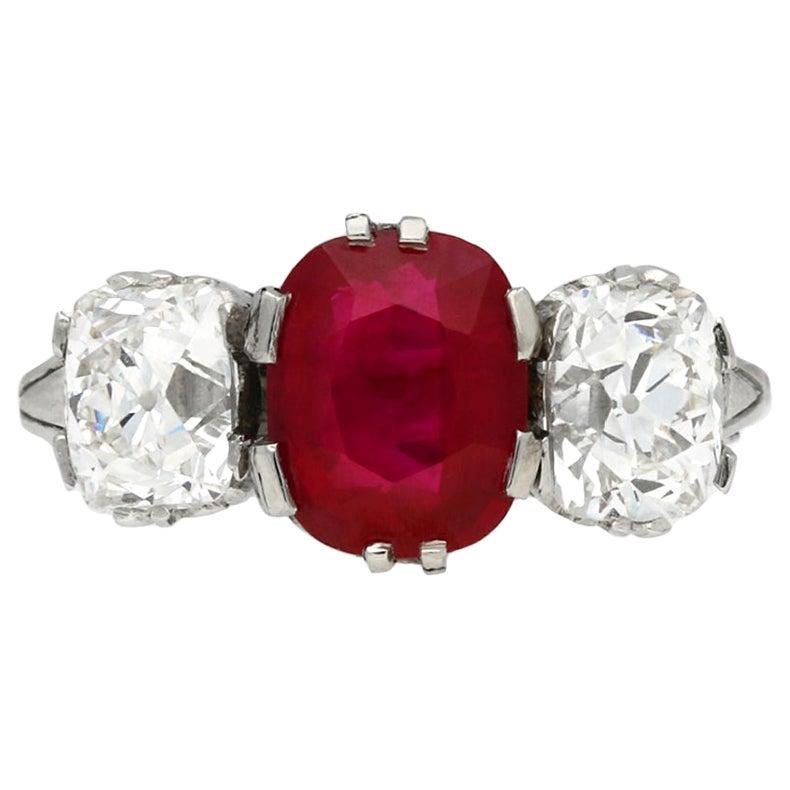 Natural Burmese Ruby Diamond Three-Stone Ring, circa 1910