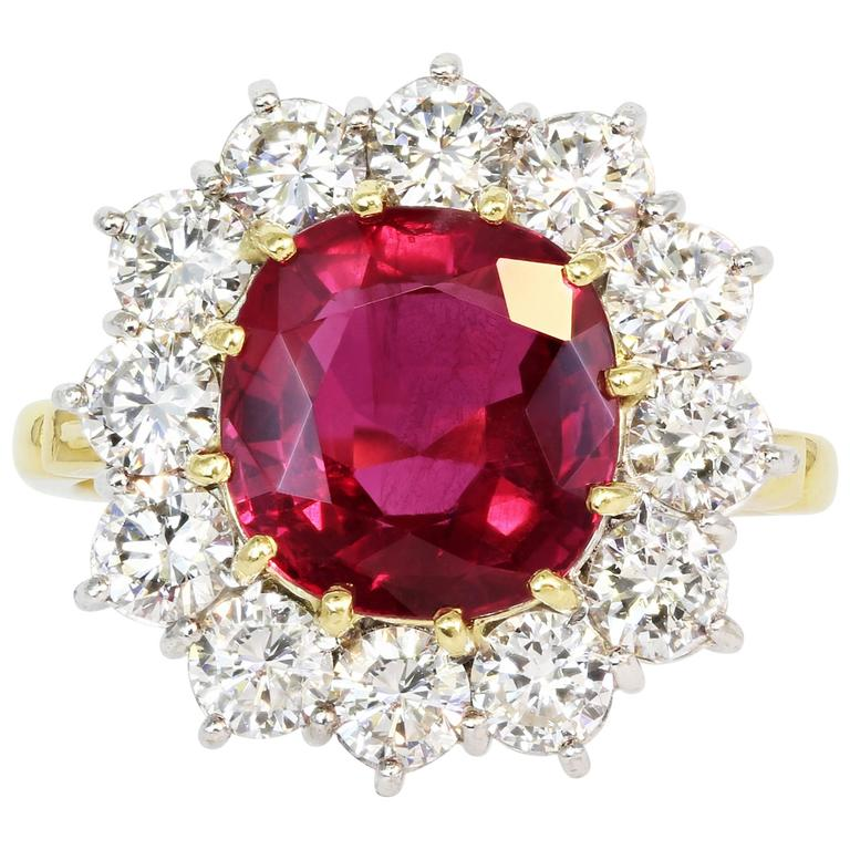 3.03 Carat Cushion Cut Burma Ruby Diamond Two-Color Gold Ring