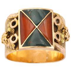 Dazzling Geometric Scottish Agate Ring c. 1860-1880