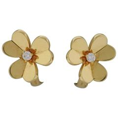 Van Cleef & Arpels Frivole Diamond Gold Flower Earrings