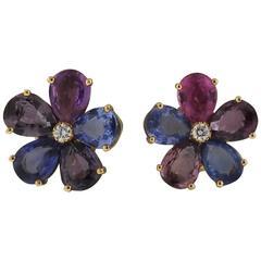 Bulgari Multi Color Sapphire Diamond Gold Flower Earrings