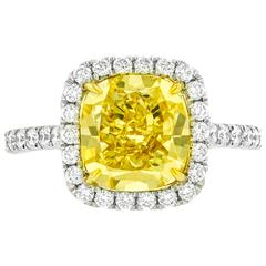Fancy Yellow 4.77 Carat Diamonds Gold Ring