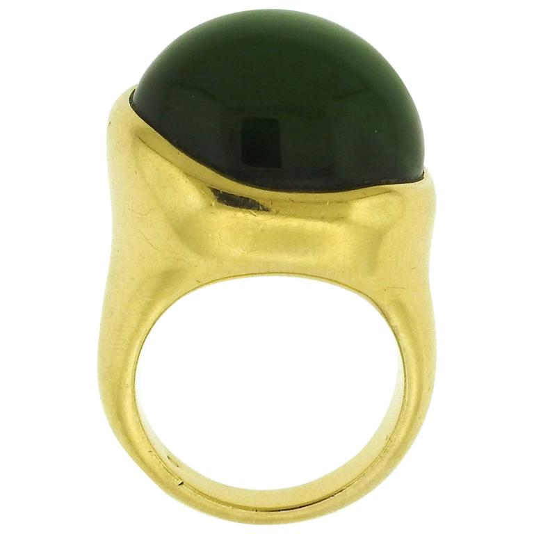 eeaa53343 Tiffany & Co. Elsa Peretti Jade Gold Cabochon Ring For Sale. Large 18k  yellow ...