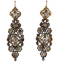 Antique Diamond Silver Gold Long Earrings