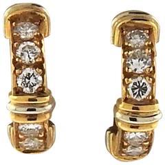 Cartier Contessa Diamond Gold Hoop Earrings